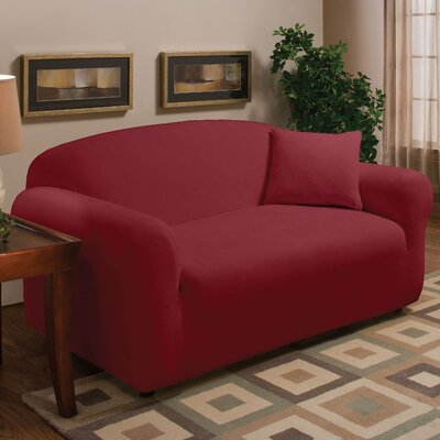Stretch Microfleece Box Cushion Loveseat Slipcover Upholstery: Burgundy