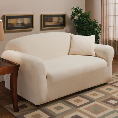 Stretch Microfleece Box Cushion Loveseat Slipcover Upholstery: Natural