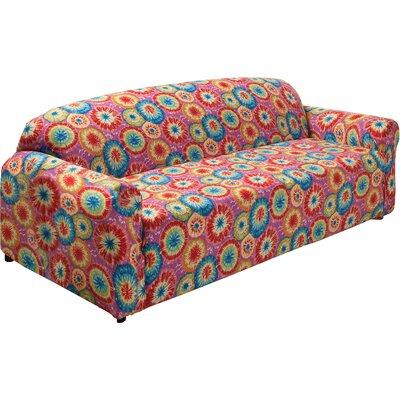 Floral Box Cushion Sofa Slipcover Color: Tie Dye