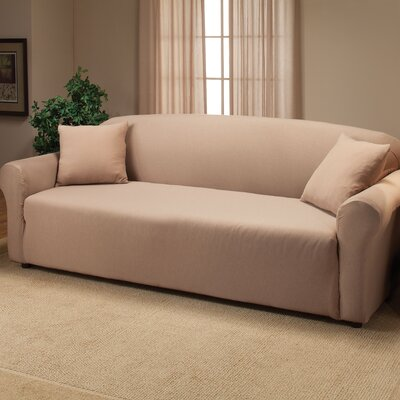Floral Stretch Jersey Sofa Slipcover Color: Linen