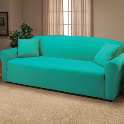 Floral Stretch Jersey Sofa Slipcover Color: Aqua