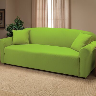 Floral Box Cushion Sofa Slipcover Color: Lime