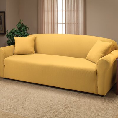 Floral Stretch Jersey Sofa Slipcover Color: Yellow