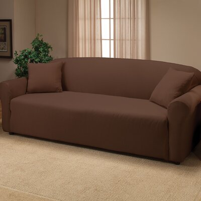 Floral Stretch Jersey Sofa Slipcover Color: Brown