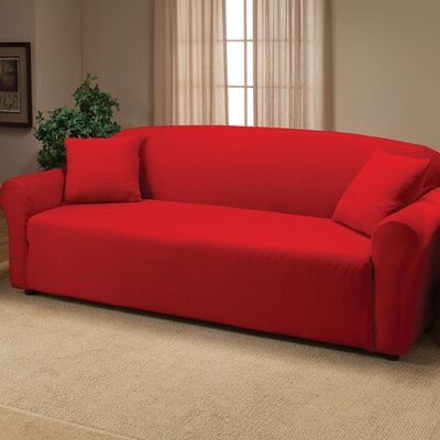 Floral Box Cushion Sofa Slipcover Color: Red