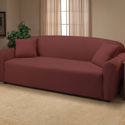 Floral Box Cushion Sofa Slipcover Color: Ruby