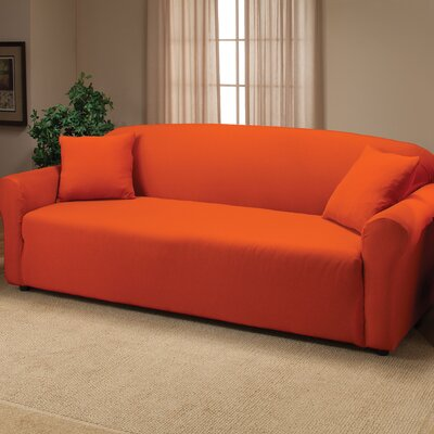 Floral Stretch Jersey Sofa Slipcover Color: Tangerine