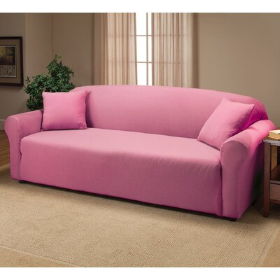 Floral Box Cushion Sofa Slipcover Color: Pink