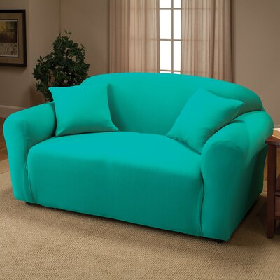 Box Cushion Loveseat Slipcover Color: Aqua