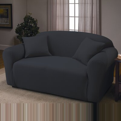 Stretch Jersey Loveseat Slipcover Color: Black