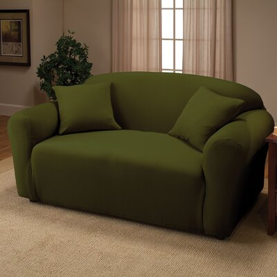 Box Cushion Loveseat Slipcover Color: Forest