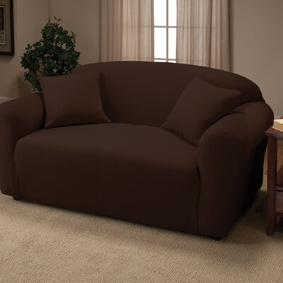 Stretch Jersey Loveseat Slipcover Color: Brown