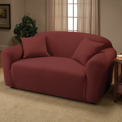 Box Cushion Loveseat Slipcover Color: Ruby