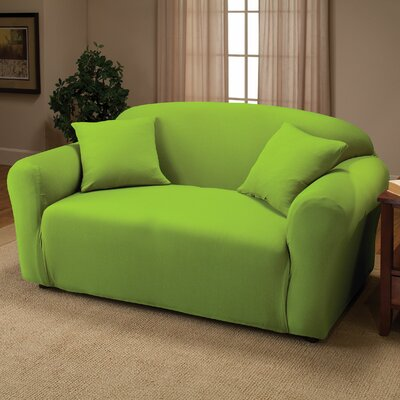 Box Cushion Loveseat Slipcover Color: Lime