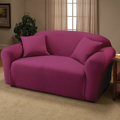 Box Cushion Loveseat Slipcover Color: Purple