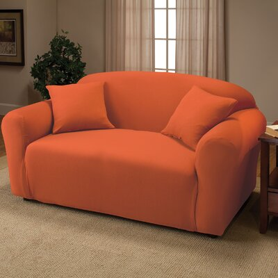 Stretch Jersey Loveseat Slipcover Color: Tangerine
