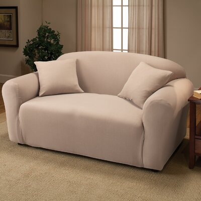 Box Cushion Loveseat Slipcover Color: Linen