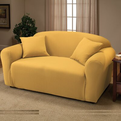 Box Cushion Loveseat Slipcover Color: Yellow