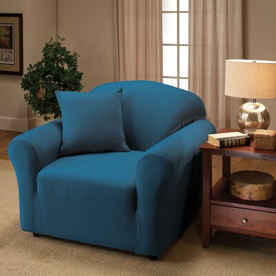 Box Cushion Armchair Slipcover Color: Cobalt Blue