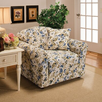 Box Cushion Armchair Slipcover Color: Blue Floral