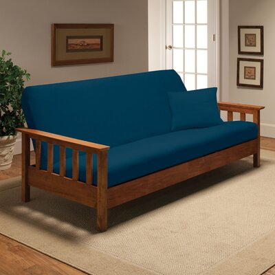 Box Cushion Futon Slipcover Upholstery: Cobalt Blue