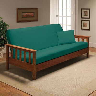 Box Cushion Futon Slipcover Upholstery: Aqua