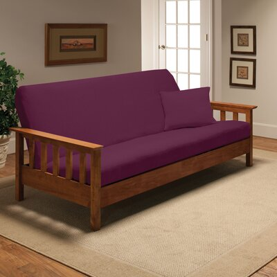 Box Cushion Futon Slipcover Upholstery: Purple