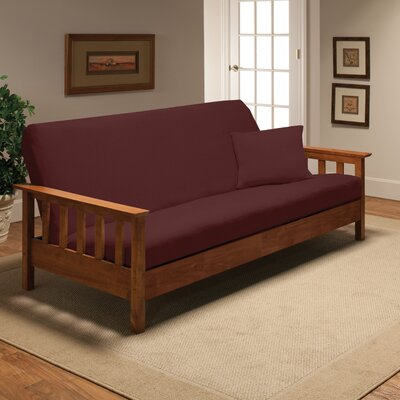 Box Cushion Futon Slipcover Upholstery: Ruby