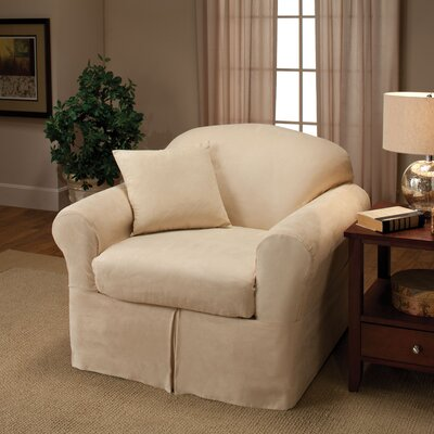 Microsuede Box Cushion Armchair Slipcover Color: Beige
