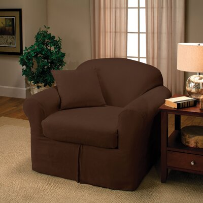 Microsuede Two Piece Chair Slipcover Color: Chocolate