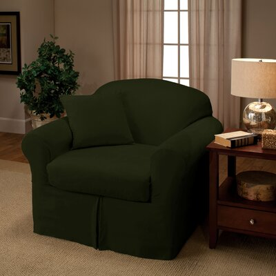 Microsuede Two Piece Chair Slipcover Color: Forest