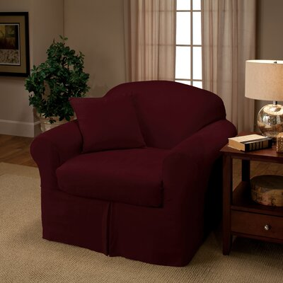 Microsuede Two Piece Chair Slipcover Color: Ruby