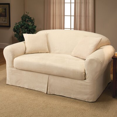 Microsuede 2-Piece Box Cushion Loveseat Slipcover Color: Beige