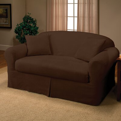 Microsuede 2-Piece Box Cushion Loveseat Slipcover Color: Chocolate