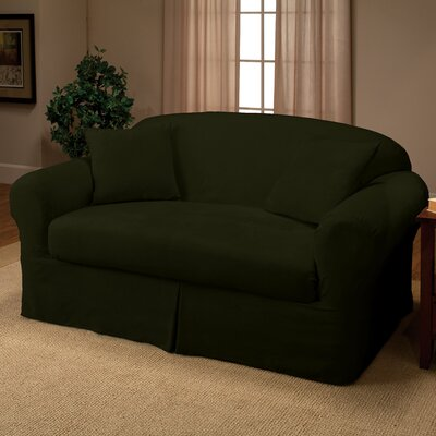 Microsuede 2-Piece Box Cushion Loveseat Slipcover Color: Forest