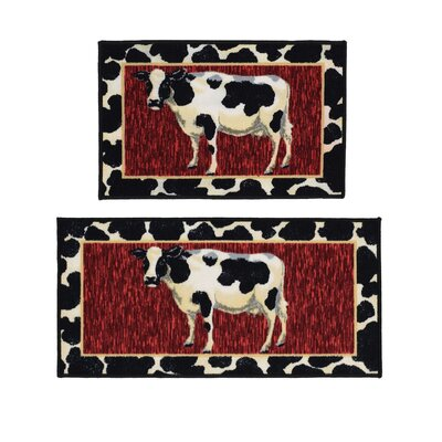 Cow 2 Piece Black/Red Novelty Rug Set