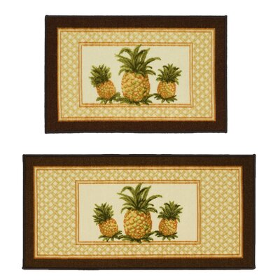 Pineapple 2 Piece Novelty Rug Set