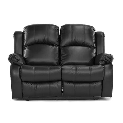 2 Seater Leather Recliner Upholstery: Black RECLINER-LS-BLK