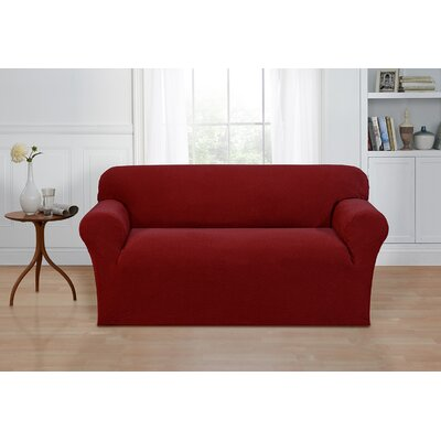 Box Cushion Loveseat Cover Color: Brick