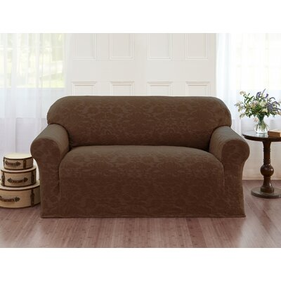 Damask T-Cushion Loveseat Slipcover Color: Brown