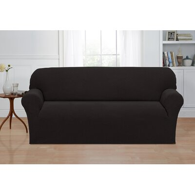 Box Cushion Sofa Slipcover Color: Charcoal