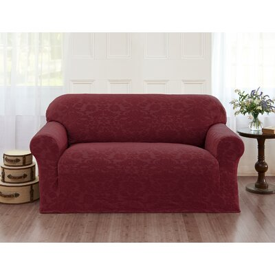 Velvet Damask Loveseat Cover Color: Burgundy