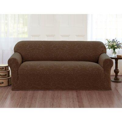 Damask Box Cushion Sofa Slipcover Color: Brown