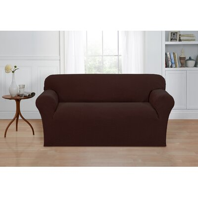 Box Cushion Loveseat Cover Color: Chocolate