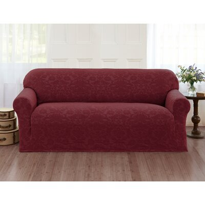 Damask Box Cushion Sofa Slipcover Color: Burgundy