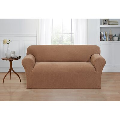 Box Cushion Loveseat Cover Color: Sand