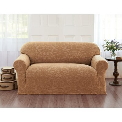 Damask T-Cushion Loveseat Slipcover Color: Beige