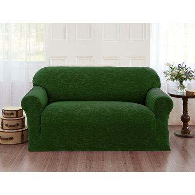 Damask T-Cushion Loveseat Slipcover Color: Hunter