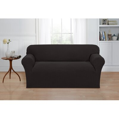 Box Cushion Loveseat Cover Color: Charcoal