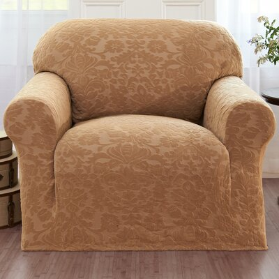 Damask Box Cushion Armchair Slipcover Color: Beige